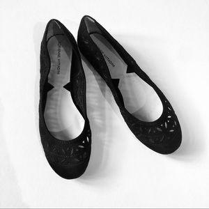 Adrienne Vittadini Black Suede Flats Size 9